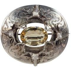 Huge 1850s Silver Deer Head Citrine Scottish Brooch Pin