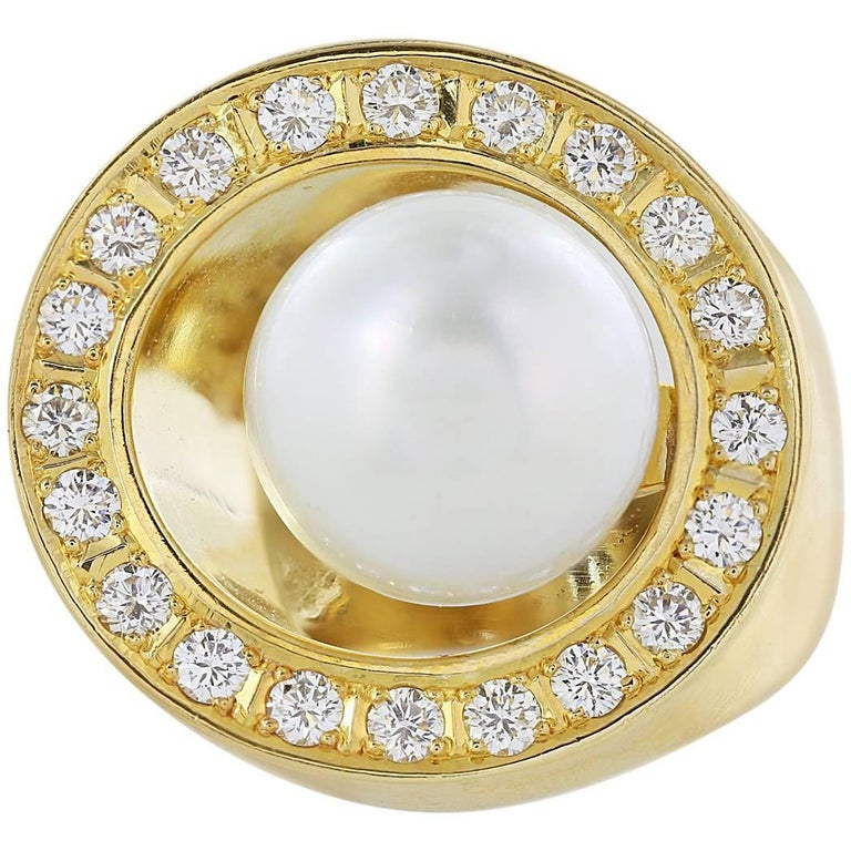 18 Karat Yellow Gold South Sea Pearl and Diamond Cluster Ring