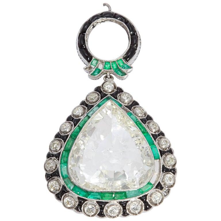 Art Deco Diamond Emerald and Black Enamel Pendant