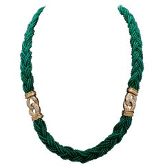 Van Cleef Chrysoprase Diamond Gold Necklace