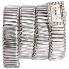Bulgari Ladies White Gold Diamond Tubogas Wristwatch