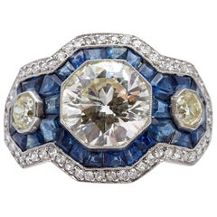 Modern Art Deco Style Sapphire Diamond Ring