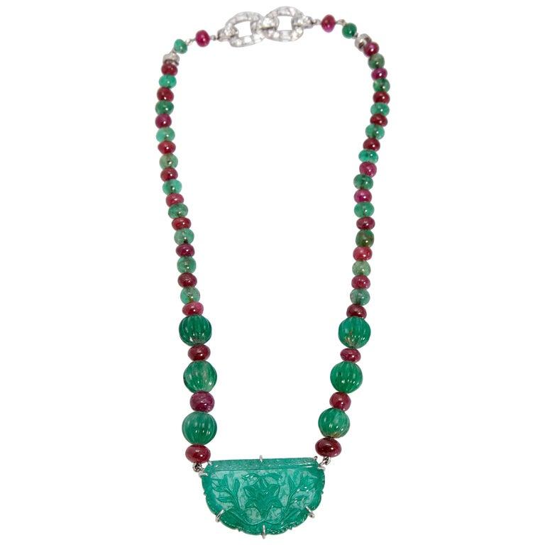 Van Cleef & Arpels Emerald Ruby Diamond Necklace