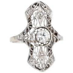 Art Deco Diamond Filigree Ring 14 Karat White Gold
