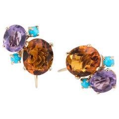 Gemstone Cluster Earrings Citrine Amethyst and Turquoise