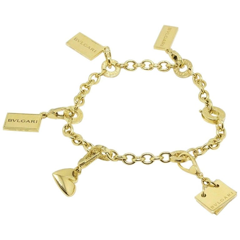 Bvlgari 18 Karat Gold Five-Charm Bracelet Condotti Heart Memo Bond St 5Th Ave