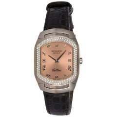 Ladies Rolex Cellini Cellissima 18 Karat White Gold 6691 Diamond Bezel Pink Dial