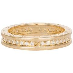 Bvlgari 18k Yellow Gold and Diamond B.Zero1 Band Ring