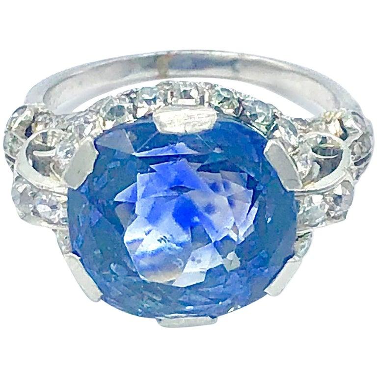 Antique Ceylon No Heat Sapphire Platinum Ring