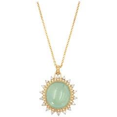 Prehnite Double Diamond Halo Pendant Necklace 18K 0.725 CTW Diamond