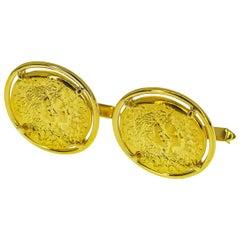 Piaget Dali Gold Coin Cufflinks 18 Karat Yellow Gold