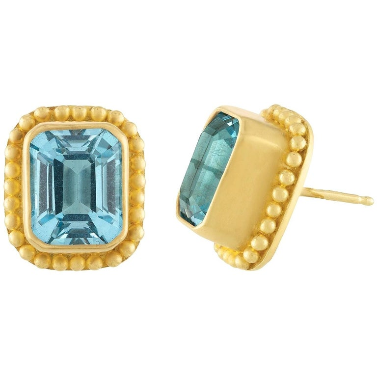 Reinstein Ross Classic 11.00 Carat Blue Topaz and Apricot Gold Stud Earrings