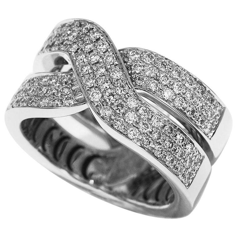 Damiani Abbraccio Diamonds 18 Karat White Gold Ring