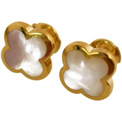 Van Cleef & Arpels Pure Alhambra Mother-of-Pearl 18 Karat Gold Stud Earrings