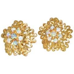 Flower Motif Opal and Gold Ear-Clips