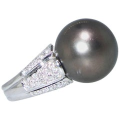 Polynesian Black Pearl and Diamond Ring