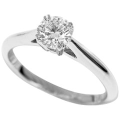 Harry Winston Solitaire 0.57 Carat Round Brilliant Diamond Platinum Ring