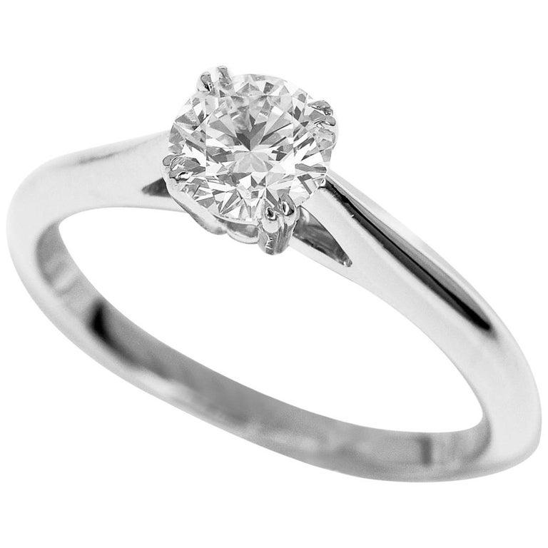 Harry Winston Solitaire 0.57 Carat Round Brilliant Diamond Platinum Ring For Sale