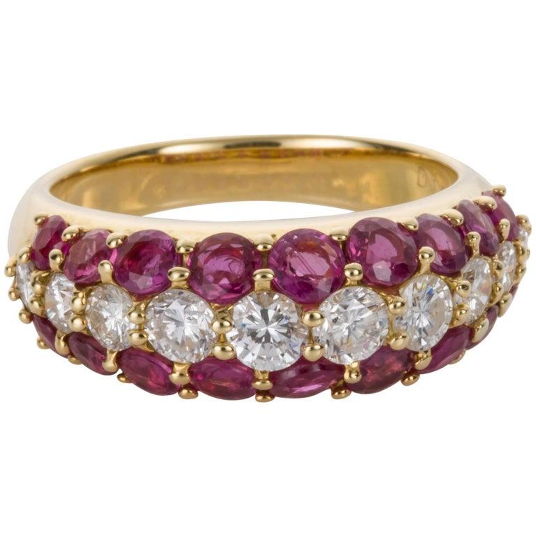 18 Karat Yellow Gold Ruby and Diamond Band Ring