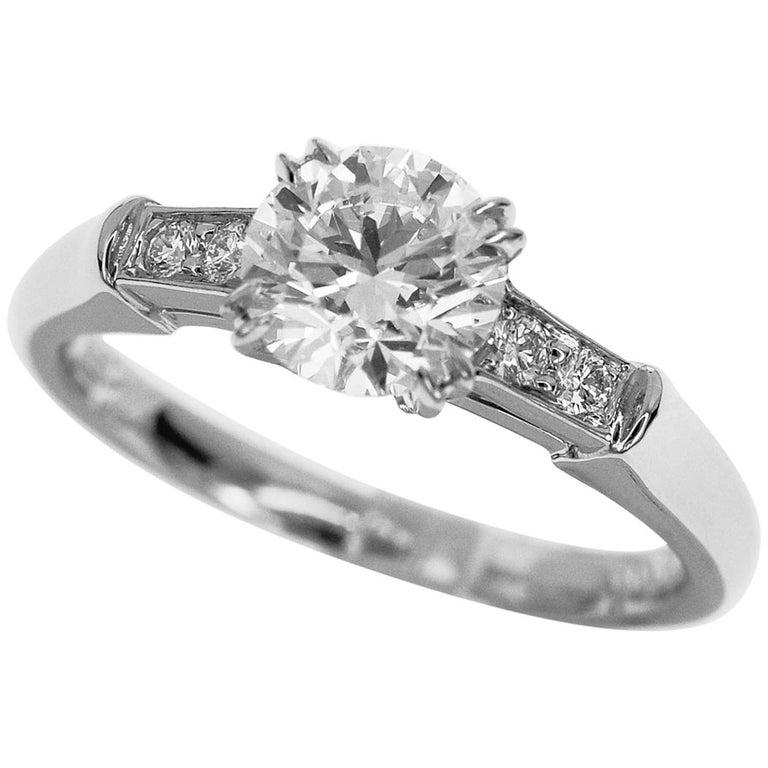 Harry Winston Tryst Round Brilliant 0.72 Carat Diamond Engagement Platinum Ring