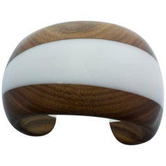 Wood and White Methacrylate Cuff Bracelet