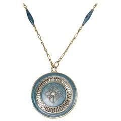 14 Karat Diamond Set Blue Enamel Locket Pendant with Chain