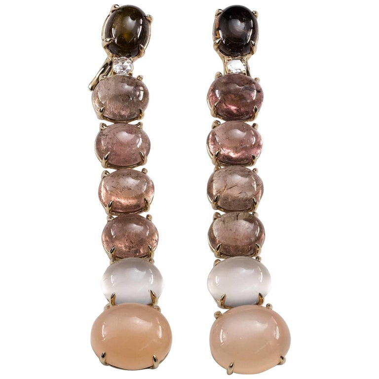 Lygia Demades Pink Tourmaline Moonstone and Rose Cut Diamond Gold Earrings