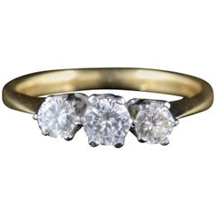 Antique Edwardian Diamond Trilogy Ring 18 Carat Gold, circa 1910