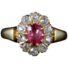 Antique Victorian Pink Sapphire Diamond Ring 18 Carat Dated 1891