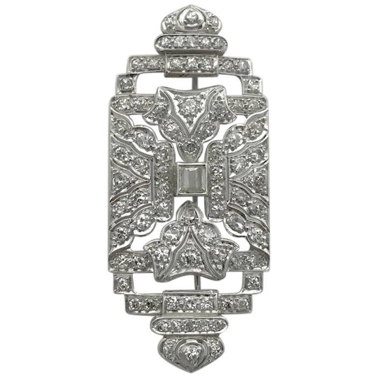 1930s Art Deco Diamond Platinum Brooch