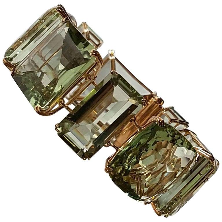 Prasiolite Rose Gold Link Bracelet For Sale