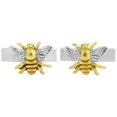Bee Cufflinks in Sterling Silver with 18 Karat Gold Vermeil