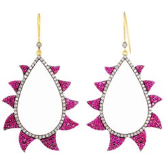 Meghna Jewels Claw Earrings Ruby and Diamonds