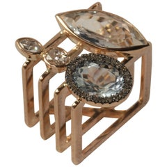 Ia Jewels 14 Carat Rose Gold Rectangular Aquamarine Diamond Cocktail Ring