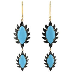 MEGHNA JEWELS Claw Double Drop Earrings Turquoise and Black Diamonds
