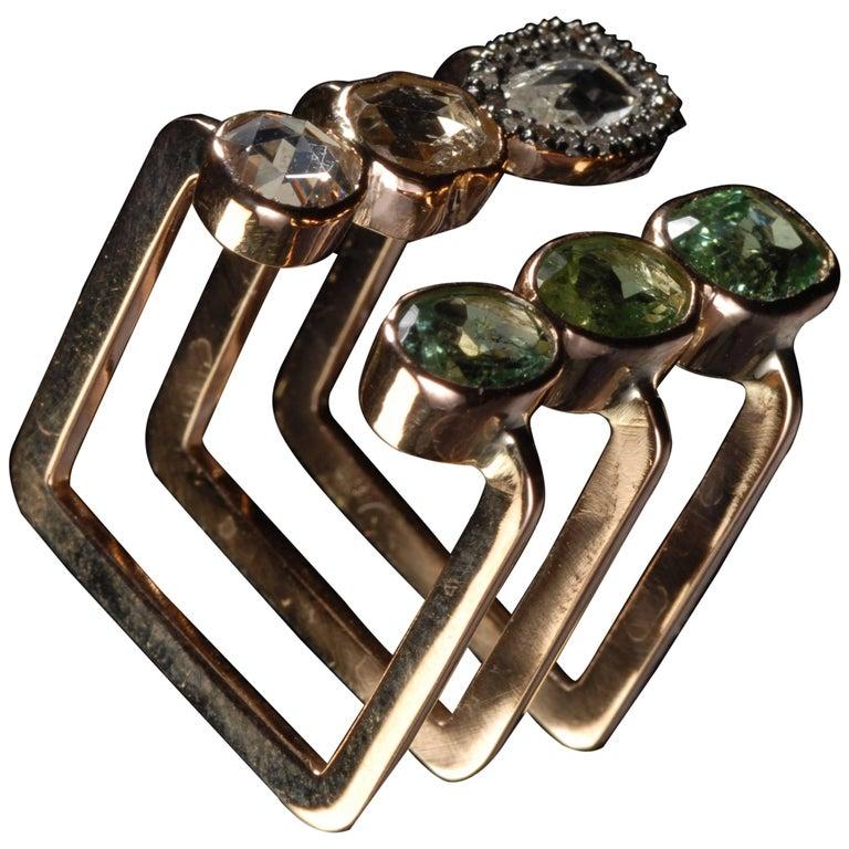 Ia Jewels 14 Carat Gold Green Tourmaline Sapphire Diamond Triple Cocktail Ring
