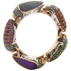 18k Rose Gold and Sterling Silver Scarab Eternity Ring