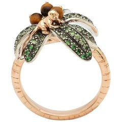 18k Rose Gold Sterling Silver Tsavorite Palm Tree Ring