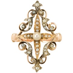 French Napoleon III Natural Pearl Siver Rose Gold Ring