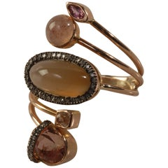 Ia Jewels 14 Carat Rose Gold Chalcedony Sapphire Tourmaline Diamond Ring