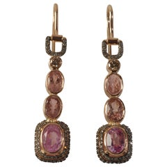 Ia Jewels 14 Carat Gold Tourmaline Garnet Diamond Rose Drop Earrings
