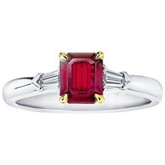 1.03 Carat Emerald Cut Natural No Heat Ruby and Diamond Platinum and 18k Ring