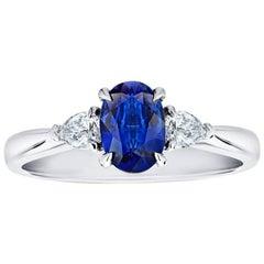 1.08 Carat Oval Blue Sapphire and Diamond Platinum Ring
