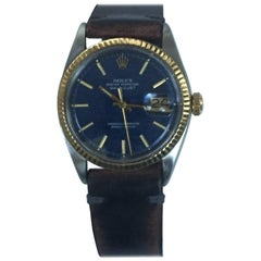Rolex Yellow Gold Stainless Steel Blue Wave Dial Datejust Automatic Wristwatch