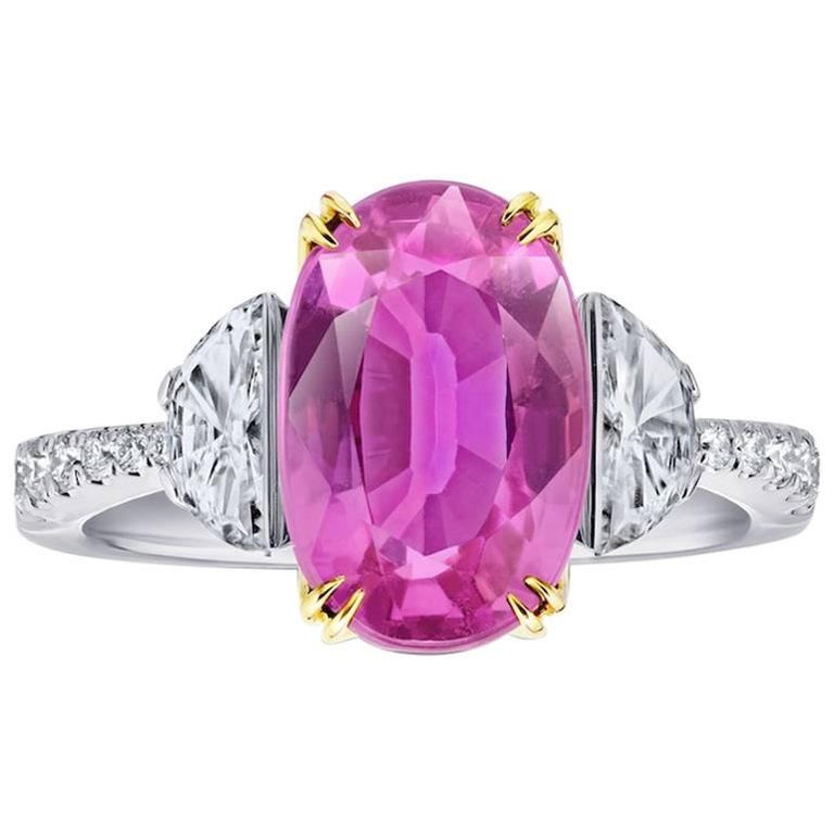 5.20 Carat Oval Pink Sapphire and Diamond Ring
