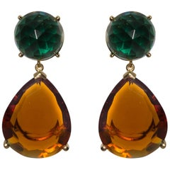 Unusual Green Amethyst and Golden Citrine Drop Earrings
