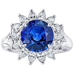 3.40 Carat Round Blue Sapphire and Diamond Platinum Ring