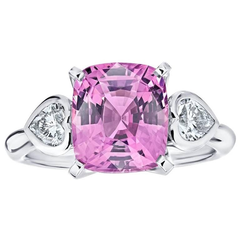 4.11 Carat Cushion Pink Spinel and Diamond Ring