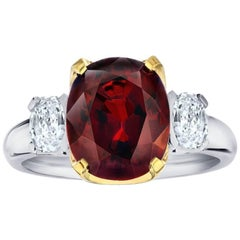 5.19 Carat Cushion Red Spinel and Diamond Platinum and 18k Yellow Gold Ring