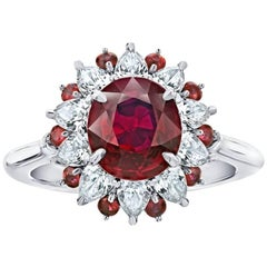 3.04 Carat Oval Red Ruby and Diamond Platinum Ring